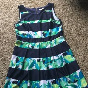 Striped floral A-line Dress